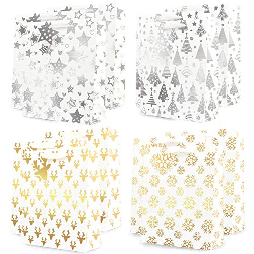 UNIQOOO 12Pcs Gold & Silver Metallic Foil Gift Bags Bulk w/ Gift Tags, Recyclable Reusable Large 12.5x10.5 Inch, for Christmas Wrapping Thanksgiving, New Year Party Favor Decor Supplies, Assorted Desi