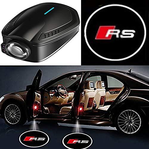 ZHLZH 2 Pezzi Ricaricabile per Portiera per Auto Logo Wireless Emblema Laser Kit di Luci di Benvenuto A LED per Ombra per Audi Rs3 Rs4 Rs5 Rs6