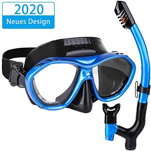 Haberi Snorkelset met snorkel en duikbril, anticondens-snorkelmasker van gehard glas, waterdicht duikmasker met driekanaal-uitvoering voor volwassenen