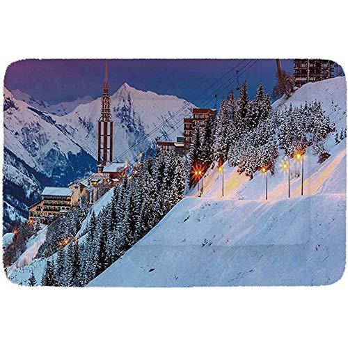YAGEAD Winter Einfaches Haustierbett, Winter Sunrise Landscape und Ski Resort Spruce Pine Forest Französische Alpen