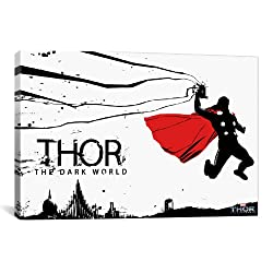 iCanvasART Marvel Movie The Dark World Thor with Red Cape by Marvel Comics Canvas Art Print