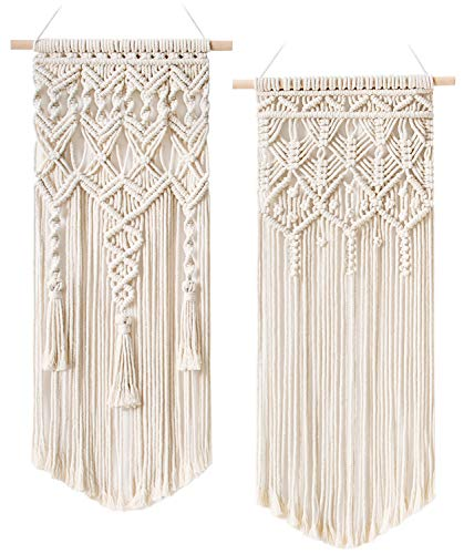 "Mkono 2 Pcs Macrame Woven Wall Hanging Boho Home Chic Bohemian Geometric Art Decor - Beautiful Apartment Bedroom Dorm Room Decoration, 28"" L x 13"" W"