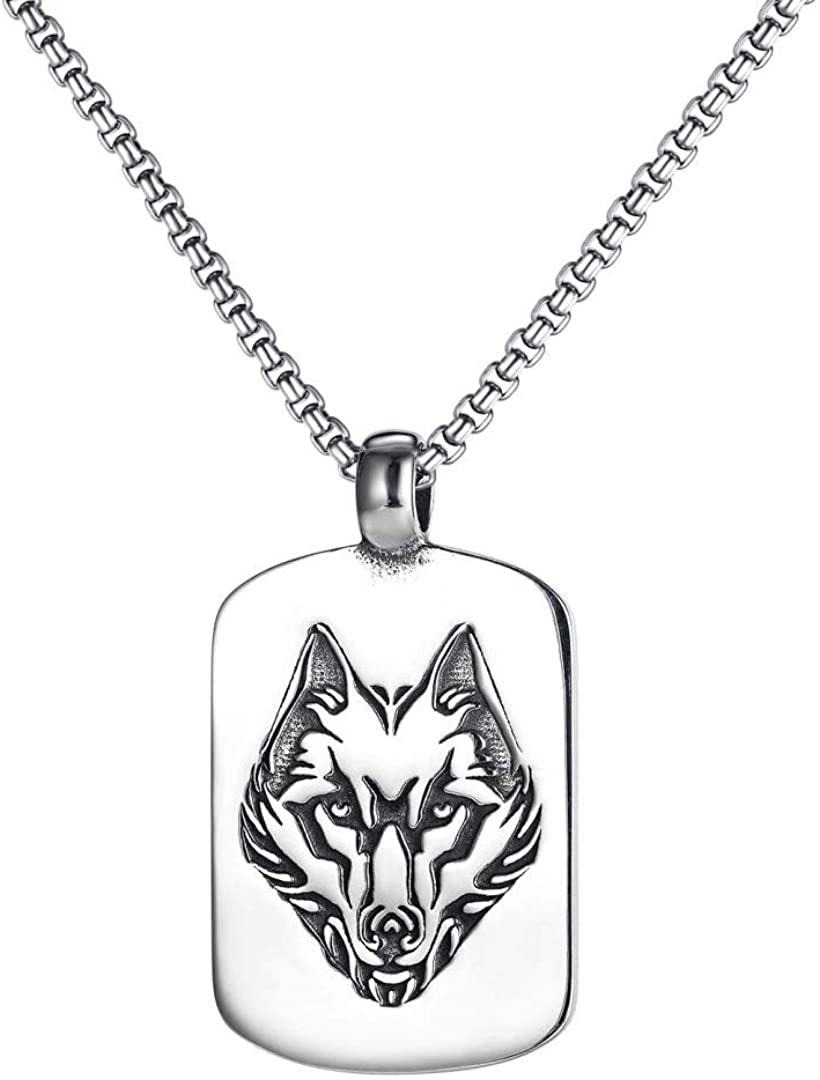 jonline24h Mens Womens Stainless Steel Wolf Tag Ro Over item handling ☆ Punk Mail order cheap Dog Head