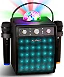 MASINGO Bluetooth Karaoke Machine for Adults and Kids - Portable Singing Equipment Set with 2 Wireless Karaoke Microphones - PA Speaker System with Disco Ball and Party Lights + TV Cable - Ostinato M7
