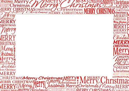 Red Merry Christmas Photo Holders - Box of 18 Designer Greetings Christmas Cards