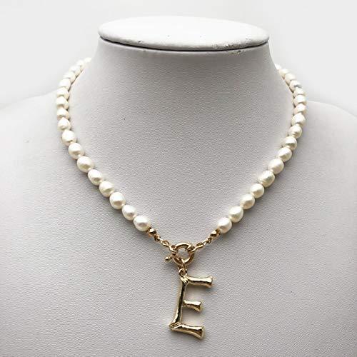 WDam Collar de Perlas Reales Gargantilla Alfabeto AZ Collar de Perlas Inicial Hebilla de Acero Inoxidable Colgante de Color Dorado Joyería de Perlas de Agua Dulce
