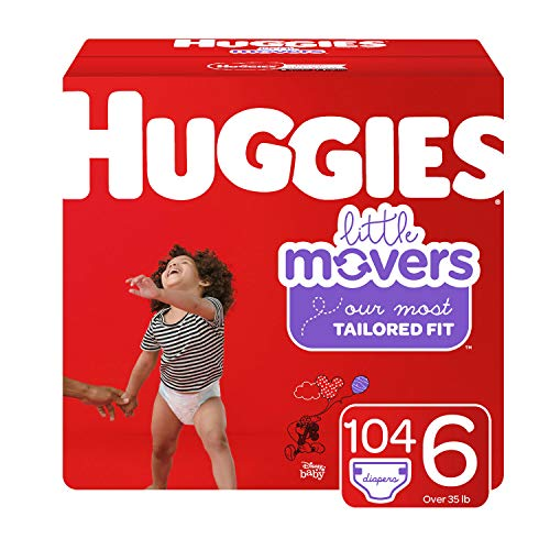 Huggies Little Movers Baby Diapers Size 6 104 Ct One Month Supply Packaging May Vary