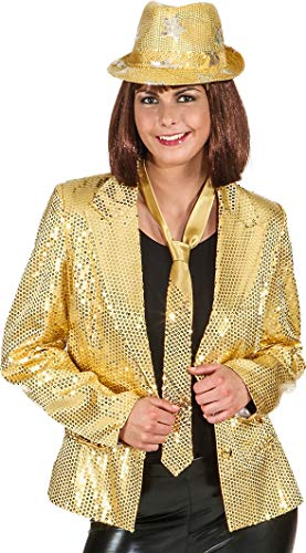 * NEW * Ladies Lined Gold Sequins Disco Jacket. Sizes 10-20