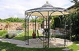 ELEO Florenz runder Rankpavillon mit Sonnensegel und Messingkugel, Ø 3,7 m (Oberfläche: anthrazit pulverbeschichtet)