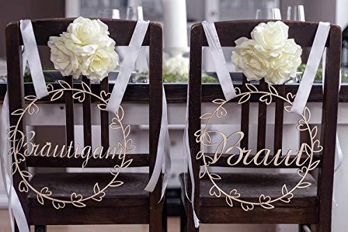 Hochzeitideal Stuhlschild Hochzeit aus Holz Brautleute Stuhlschilder Braut und Bräutigam