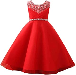 Girls' First Communion Organza Sequin Pearls Flower Girl Dress with Train