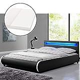ArtLife Polsterbett Sevilla 180 x 200 cm mit LED Beleuchtung, Kopfteil, Lattenrost & Kaltschaummatratze - Bett Doppelbett Bettgestell