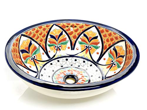 Dominga - Mexikanisches Ovales Waschbecken   Oval Einbauwaschbecken mit Rand   Keramik Talavera Einbau/Unterbau Waschbecken aus Mexiko