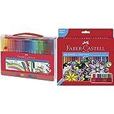Faber-Castell 155560 Maletín con 60 rotuladores, multicolor + 111260 Estuche-soporte de cartón con 60 lápices de colores, multicolor