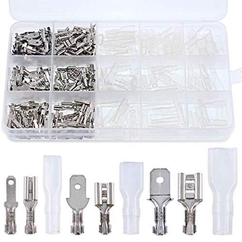 Kuinayouyi 315 unidades de empalme rápido de 2,8 mm, 4,8 mm, 6,3 mm, macho y hembra, bloque de terminales con manguito aislante