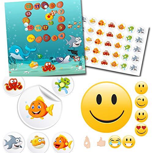 Belooningssysteem voor kinderen beloningskaart met stickers in de set onderwater wereld + emoji goed! - Meer dan 150 delen.