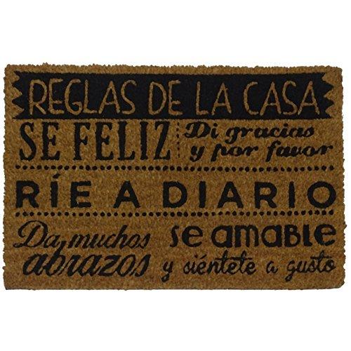 koko doormats Felpudo con Diseño Reglas de la Casa, PVC, Coco, 60 x 40 cm