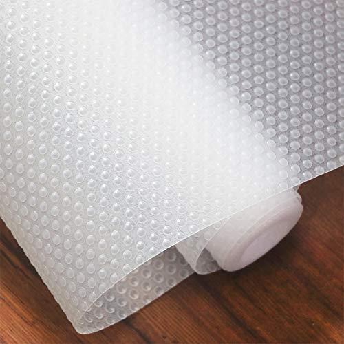 Hersvin 60cmx500cm Plastico Protector para Cocina Cajones, Alfombras Antideslizante Non Adhesivo para Nevera Mueble Fregadero Estante Organizador Cubiertos EVA Cubre Encimera(Transparente Punto)