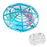 Mini Remote Control UFO Flying Ball Drone Toys with LED Light, Indoor Easy Small Aircraft Drone Toys for Kids. (Blue)