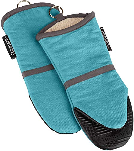 Cuisinart Silicone Oven Mitts 2 Pack – Heat Resistant To 500 Degrees – Handle Hot Kitchen Items Safely – Non-Slip Silicone Grip Oven Gloves with Insulated Deep Pockets and Hanging Loop – Aqua