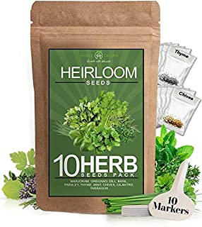 Sponsored Ad - 10 Culinary Herb Seed Vault - Heirloom and Non GMO - 3000+ Seeds for Planting for Outdoor or Indoor Herb Ga...