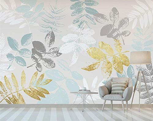 Pink world Wandbild einfache goldene kleine frische Tropische Blätter Sofa Hintergrund Wanddekoration Malerei Tapete-Über 400 * 280 cm