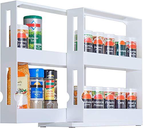 UPP Gewürzregal ausziehbar I Praktisches Schrank Ordnungssystem sorgt für Ordnung in Bad und Küche I Ausziehbares Nischenregal als Schrankeinsatz oder direkt auf die Arbeitsplatte