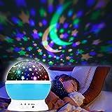Proyector Estrellas, Proyector Bebe Estrellas Portátil,360° Rotación Iluminación Proyector Estrellas,USB Recargable LED Proyector para Niños y Bebés Cumpleaños, Día de los Reyes, Navidad, Halloween