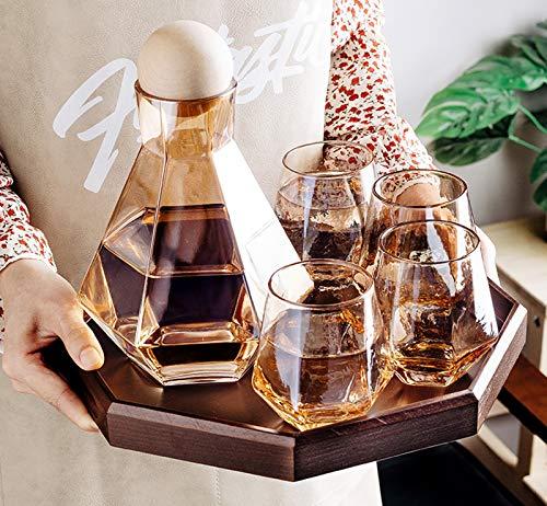 Juego de vasos de whisky, cristal, vidrio sin plomo, estilo nórdico, corcho,...