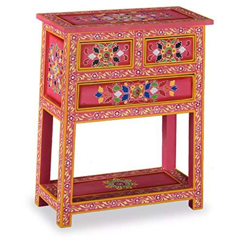 ROMELAREU dressoir met laden massief mangohout roze handgeschilderd meubels kasten buffets & sideboards