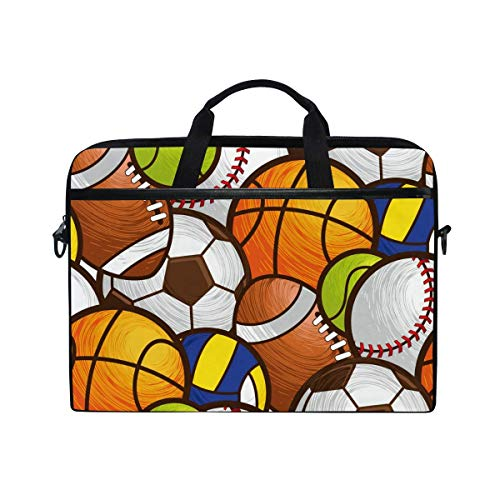 Laptop Sleeve Case,Laptop Bag,Sport Pattern Soccer Baseball Basketball Water Briefcase Messenger Notebook Computer Bag with Shoulder Strap Handle,29×40 CM/15.6 Inch