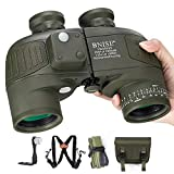 BNISE 10x50 Binoculars for Adults Marine Hunting Rangefinder with Harness Strap Built-in Compass