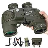BNISE 10x50 Binocolo Compatto Safari per Adulti e Bambini, con Bussola e Telemetro Incorporati, con Cinghia a Tracolla, HD Marino Telescopio ad Alta Potenza