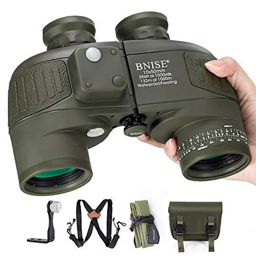 BNISE 10x50 Prismáticos Profesionales con Telemetro para Adultos y Niños, Caza Observación De Aves Brújula, con Correa Tipo Arnés. Telescopio Marino, de Alta Potencia