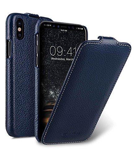 Edle Tasche für Apple iPhone XS & iPhone X / Hülle Außenseite aus beschichtetem Leder / Schutz-Hülle aufklappbar / Flip-Hülle / Etui / ultra-slim / Cover Innenseite aus Textil / Blau