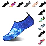 Mens Womens Water Shoes Barefoot Beach Pool Shoes Quick-Dry Aqua Yoga Socks for Surf Swim Water Sport (Blue.Moon, 40/41EU)