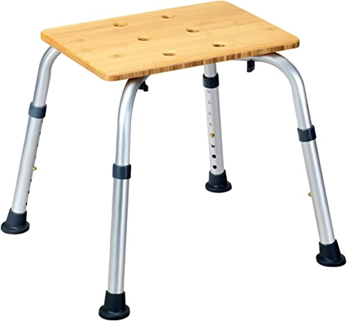 popular Giantex Bamboo Shower online Seat 2021 Bench Square W/Slip-Resistant Rubber,Waterproof Surface Bathroom Organizer Bathroom Shower Stool Bamboo Shower Bath Chair outlet online sale