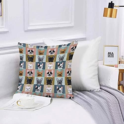 Federa per Divano,Federa Quadrata,Bulldog Francese a Tema Animale Fodera per Cuscino,per Soggiorno,Camera,Divano 45x45cm