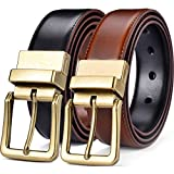 """Beltox Men's Belts Reversible Leather 1.25"""" Wide 1 for 2 Rotate Buckle Gift Box (Antique Gold Buckle with Black/LT Brown Belt, 32-34)"""