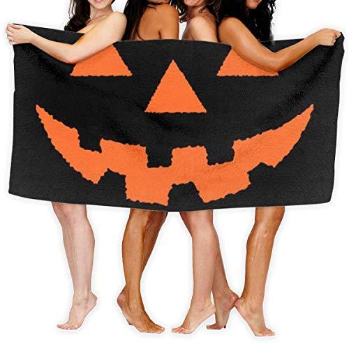 LOPEZ KENT Serviettes de Plage pour Femmes Hommes Deken Halloween Pompoen Lantaarn Smile Badlakens 100% Polyester Buiten Grote Handdoek Cover voor Yoga Mat Tent Floor 31.5