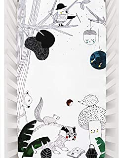 Rookie Humans 100% Cotton Sateen Fitted Crib Sheet: Woodland Dreams. Use as a Photo Background for Your Baby Pictures. Standard Crib Size (52 x 28 inches). (Standard Cotton Sateen)