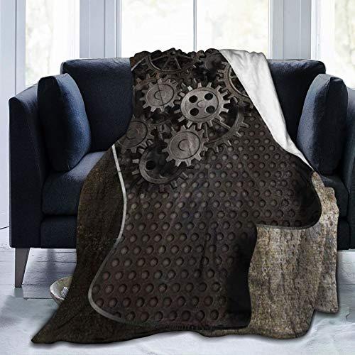 XINGAKA Flanell Fleece Soft Throw Decke,Steampunk Zahnräder und Zahnräder von Old Rusty Metal Working Brain,für Sofas Sofa Stühle Couch Leicht,warm und gemütlich 204x153cm