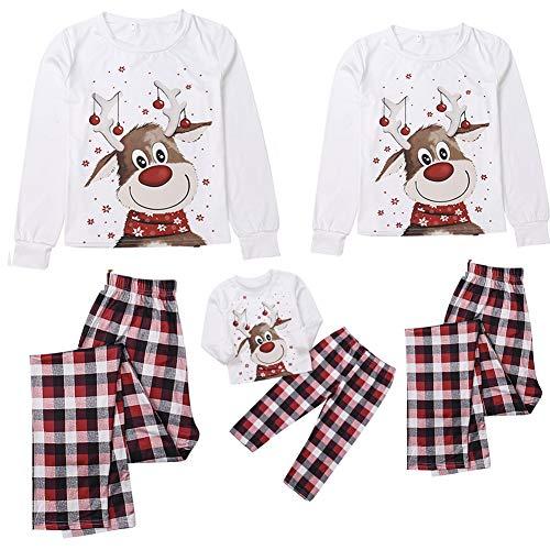 Weihnachten Schlafanzug Familie Pyjama Bekleidungssets Langarmoberteil+Plaid Lange Hosen Nachtwäsche Xmas Outfits für Jungen, Mädchen, Herren, Damen (Mama, L)