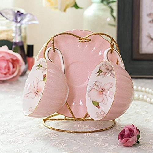 Tee Ware-Home Office Tassen Kaffeetasse Set Kreativ Einfach Haushalt Elegant Schwarzer Tee Tasse Blumen Tasse Pastoral Englisch Nachmittagstee Service (Color : Rosa, Size : 2 Pieces)