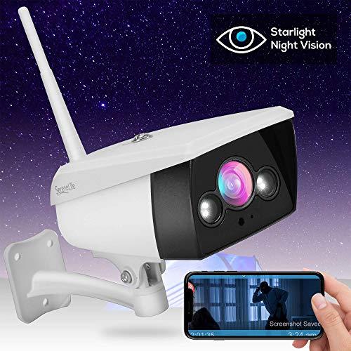 Starlight Night Vision Outdoor Camera - Alexa Compatible 2MP HD 1080p - Built in Speaker and Mic - Cloud Security Surveillance Camera w/Internal SD Card Slot, IP66 Grade Waterproof Design