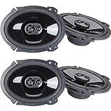 2 Pairs of Rockford Fosgate Punch P1683 260W Peak (130W Rms) 6' X 8' Punch Series 3-Way Full Range Coaxial Speakers - 4 Speakers + Gravity Magnet Phone Holder