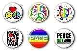 6 Peace Frieden Buttons Buttonset Ansteckbuttons 70er 70ies Anstecker #2 (2,5cm) -