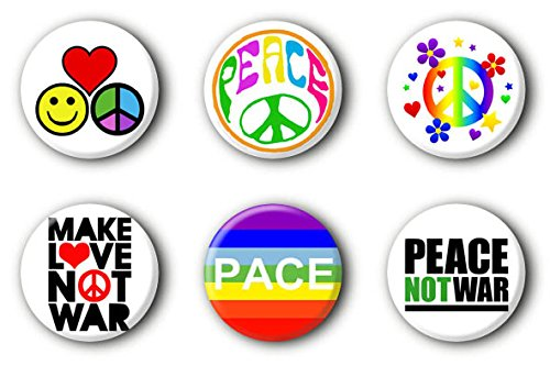 6 Peace Frieden Buttons Buttonset Ansteckbuttons 70er 70ies Anstecker #2 (2,5cm)