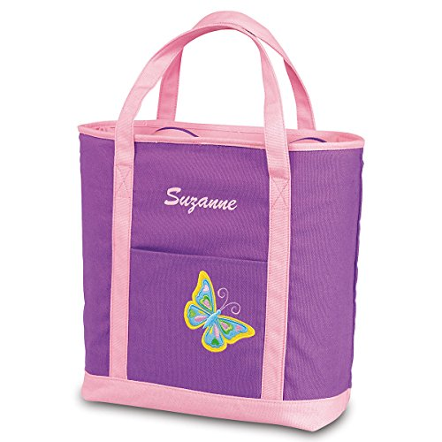 Personalized Kids Butterfly Canvas Tote