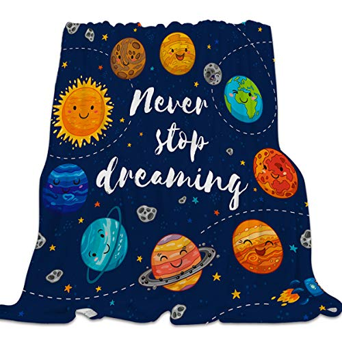 Singingin Ultra Soft Flannel Fleece Bed Blanket Solar System Never Stop Dreaming Throw Blanket All Season Warm Fuzzy Light Weight Cozy Plush Blankets for Living Room/Bedroom 40 x 50 inches